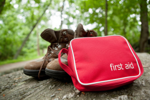 First aid kit on a hike