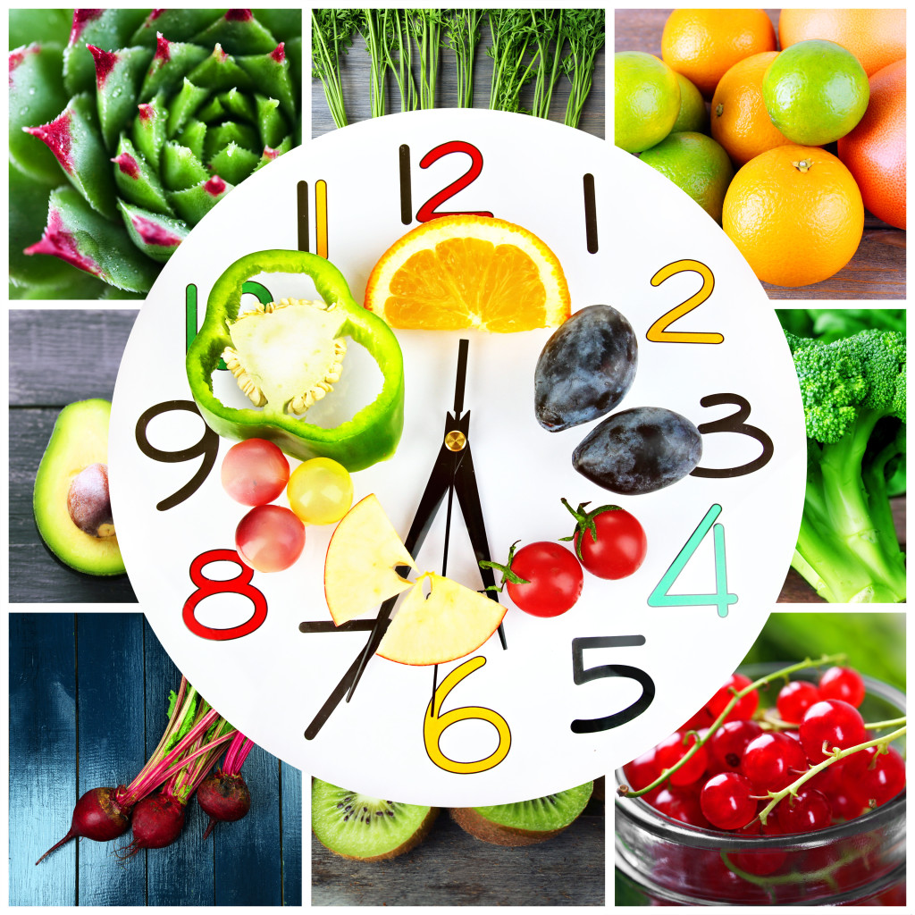 Food clock. Healthy food concept